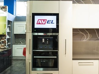 Cabinet Door Kitchen TVs are installed in VIRS brand shops in Moscow