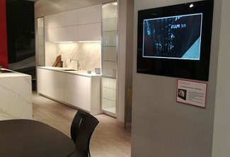 Our Cabinet Door TV for Kitchen in France