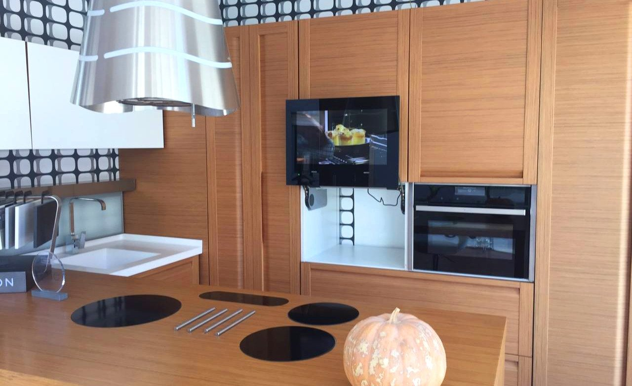 integrated tv in kitchen
